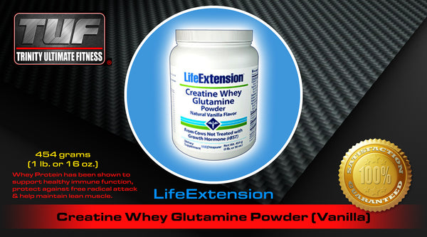 LifeExtension Creatine Whey Glutamine Powder (Vanilla)