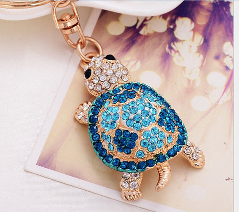 Beautiful Rhinestone turtle keychain turtle keychains Metal chains ring crystal gift for lovers bags