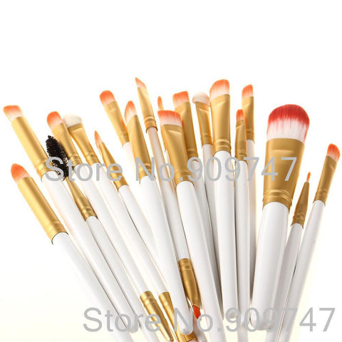 Pro 20 unids brushes white and gold colors foundation powder eye shadow lip liner brush tool
