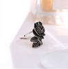Ajojewel Brand Antique Jewelry Black Crystal Rhinestone Big Rose Flower Rings For Women Romantic Vintage Bijoux