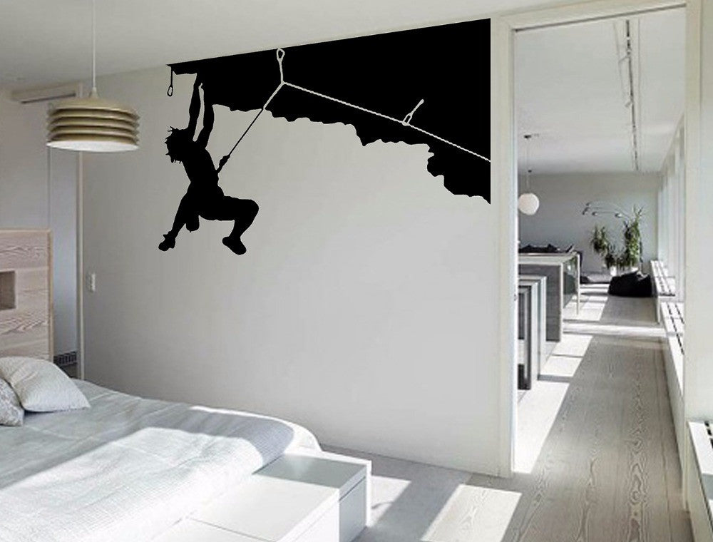 Rock Climbing Sport Cool Creative Silhouette WALL ART Sticker Mural Giant Large Decal Vinyl Transfer Home Room Decorative S M L