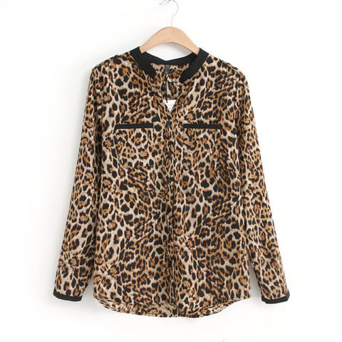 Free Shipping! 2017 Women  Blouse Leopard Print Shirt Long sleeve V -Neck Top Loose Blouses Plus Size Chiffon Shirt Camisa Feminina Clothing