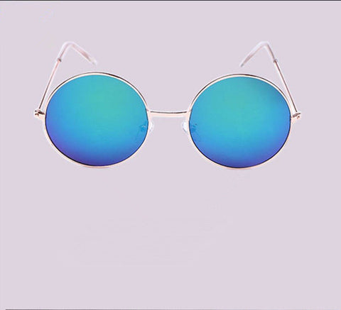 Free shipping Vintage Round lens Sunglasses Men/women Polarized Gafas Prince mirror Alloy frame Colorful Reflective Toad glasses