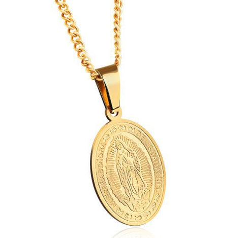 Virgin Of Guadalupe Necklaces Classical  High Quality. Stainless Unisex