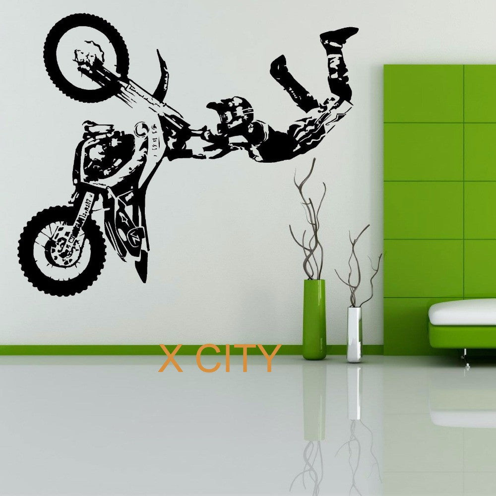 STUNT BIKE MOTORBIKE X GAMES MX Wall Sticker MOTOCROSS DIRT BIKE Grapic Creative Vinyl Art Decal Window Mural Home Room Decor