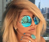 Oversized Round Mirrored Sunglasses Big Retro Fashion Women