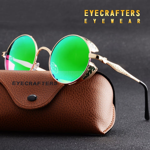 Eyecrafters Polarized Gothic Steampunk Sunglasses Coating Mirrored Round Circle Sun glasses Retro Vintage Gafas Masculino