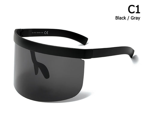Fashion Oversized Mask Shape Shield Style Sunglasses