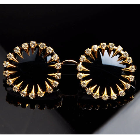 Sunglasses Cool Fashion rivet steampunk Sun glasses Rhinestone Round Women Sunglasses Unique Style UV400