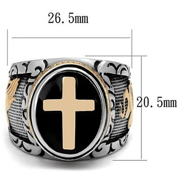 Size 7-15 Vintage Silver Gold Black Two-Tone Holy Cross Signet Ring Prayer Christian Jesus Religious Cocktail Valentine