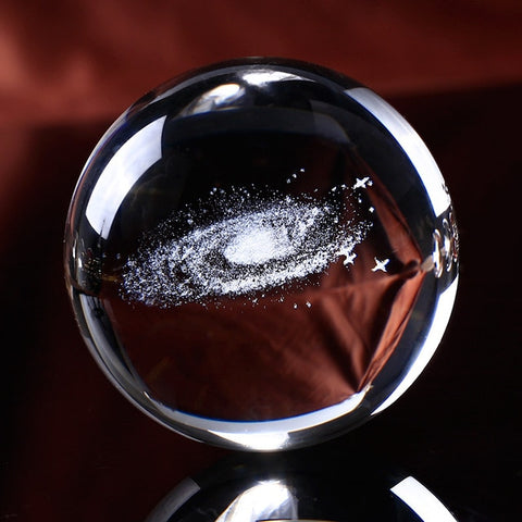 Crystal Ball Globe Galaxy 3D Laser Engraved Glass Ball Sphere Via Lactea