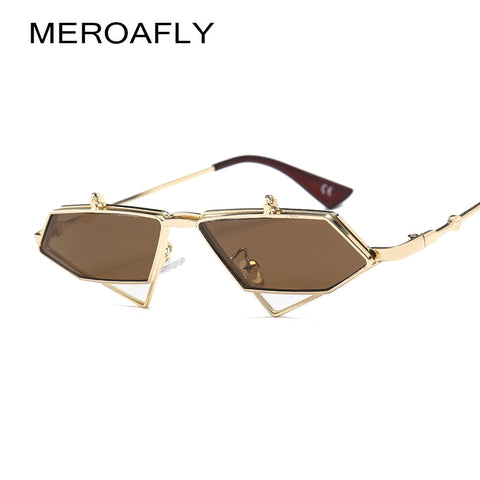 MEROAFLY Flip Up Steampunk Sunglasses Men Vintage Clear, Red, Blue, Gold, Metal Frame Triangle Sun glasses For Women UV400 Summer