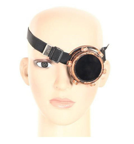 Single Right Eye Steampunk Cosplay Glasses Double Layer Welding Glare Windproof Mirror Punk Vintage Goths Goggle Free Shipping