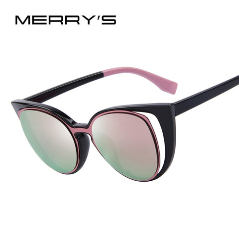 Fashion Cat Eye Sunglasses Women Brand Designer Retro Pierced Female Sun Glasses UV400