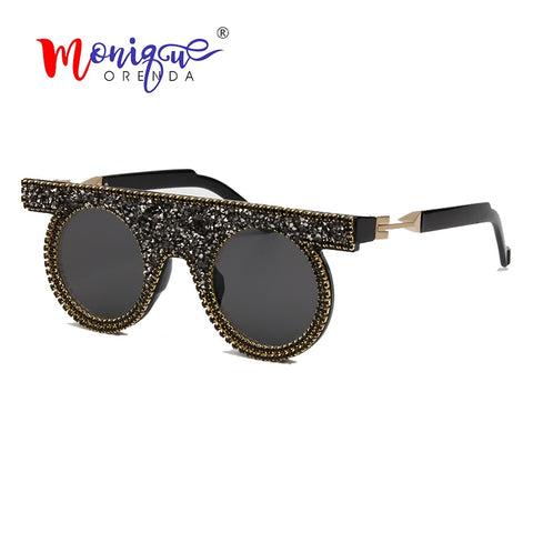 Rhinestone sunglasses for women luxury Brand vintage Round sunglasses