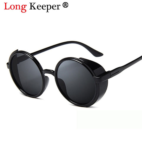 Long Keeper Brand 2018 Vintage Women Steampunk Sunglasses Brand Design Round Sun glasses Multi-color Lens PC glasses Frame UV400