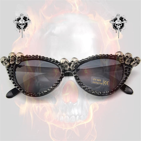 Vazrobe handmade Cat Eye Sunglasses Women skull Glasses woman rhinestone