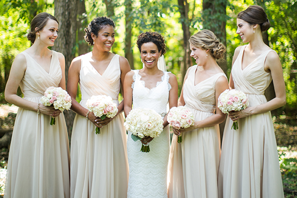 bridesmaids wearing Kennedy Blue Anna in champagne