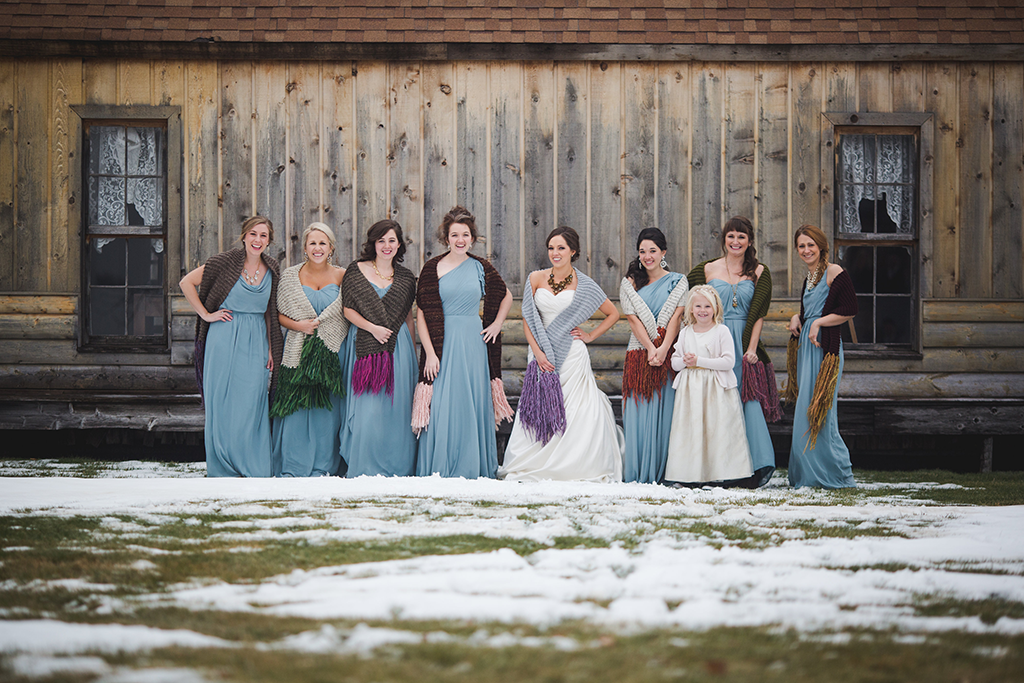 a winter wedding with dusty blue bridesmaid dresses