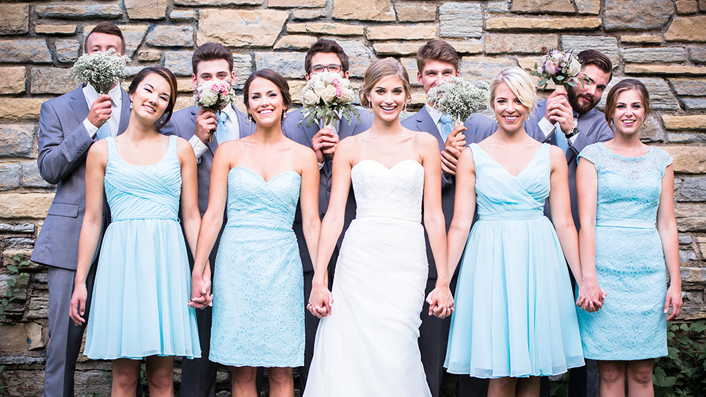 mismatched Kennedy Blue bridesmaid dresses in mint