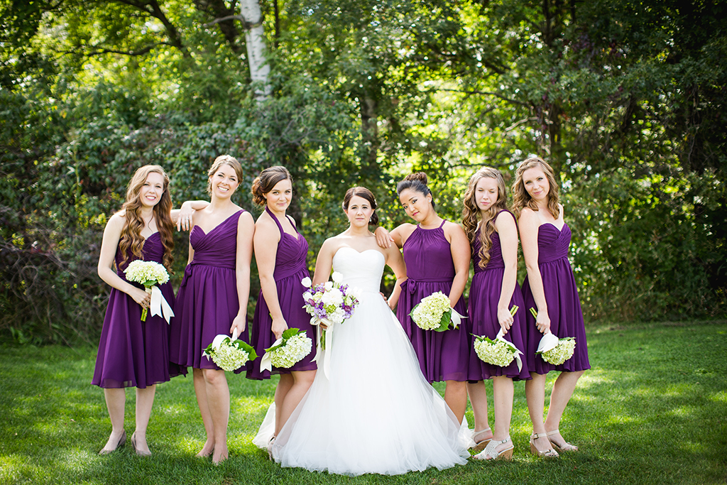 mismatched chiffon bridesmaid dresses in eggplant