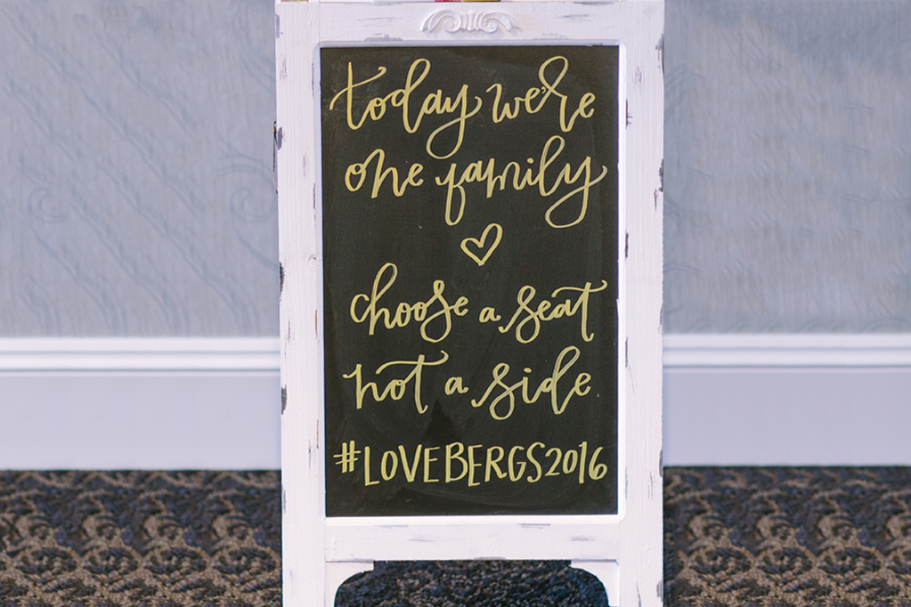 wedding hashtag on chalkboard with love quote
