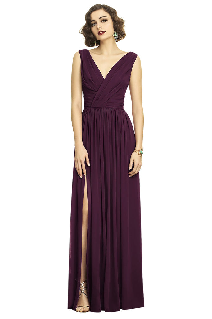 Dessy 2894 Long V-Neck Bridesmaid Dress