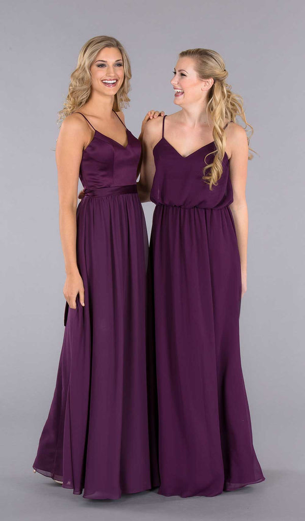 Kennedy Blue Satin and Chiffon Bridesmaid Dresses