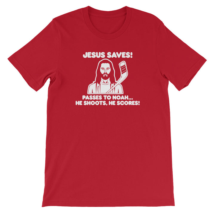 Jesus Saves Hockey T-Shirt (Unisex)