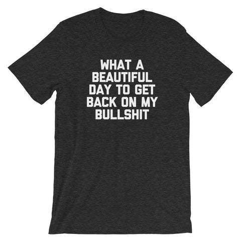 What A Beautiful Day To Get Back On My Bullshit T-Shirt (Unisex)