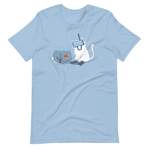Hunting (Scuba Cat vs. Fish) T-Shirt (Unisex)