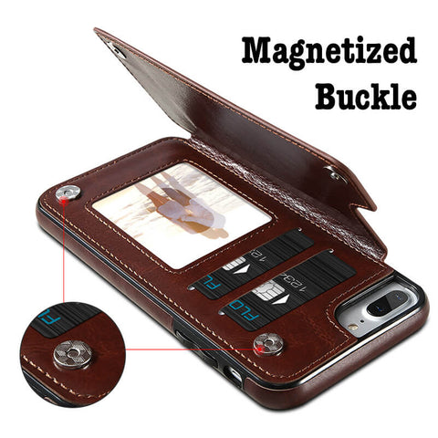 Magnetic Snaps Leather Case