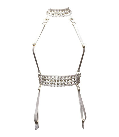 Woven Suspender Harness - White & Gold
