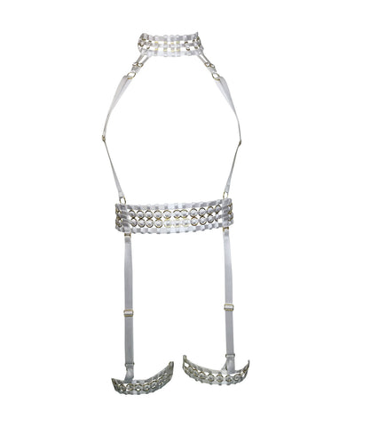 Woven Suspender Harness w/ Garters - White & Gold