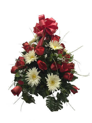 Premium Red Rose And White Daisy Basket