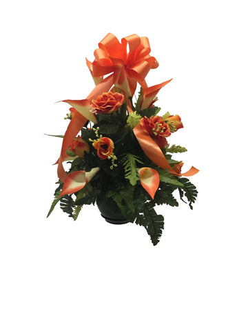 Orange Rose and Calla Lily Small Basket