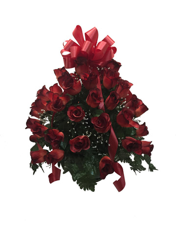 Premium Brick Red Rose Basket