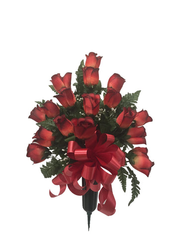 Premium Brick Red Rose Vase