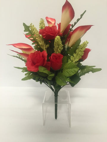 Red Rose and Calla Lily Mixed Bush