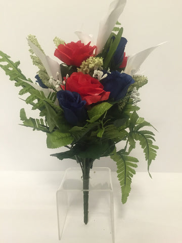 Red, White and Blue Rose and Calla Lily Mixed Bush