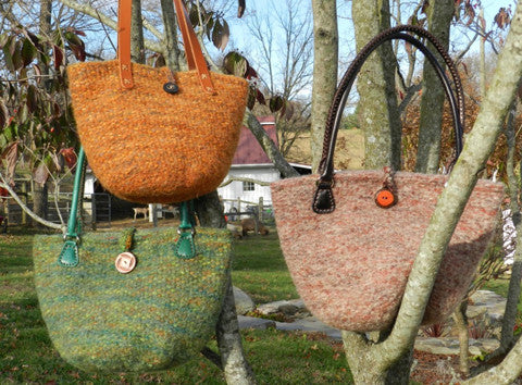 Sue Burke and the Karakul bucket bag