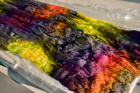 dyed yarn (skeins) canvas on one table