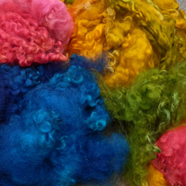 roving or fleece washed, dyed and raw