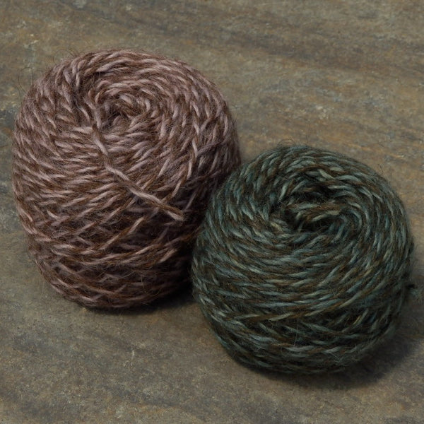 MC lavendar brown marl w teal brown marl