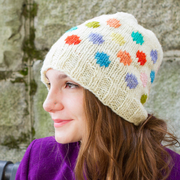 Solitude Dots hat kit with yarn and pattern