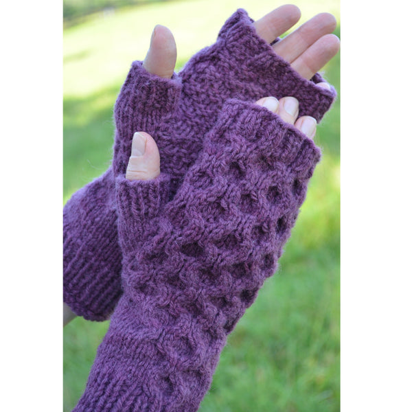honeycomb fingerless mitts pattern