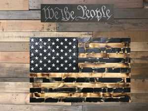 Distressed Black & Burnt Flag with Secret Compartment - ProtectYOURshelves