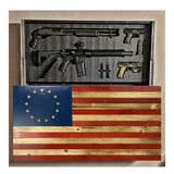 Betsy Ross Glossy Burnt American Flag with Etched Stars