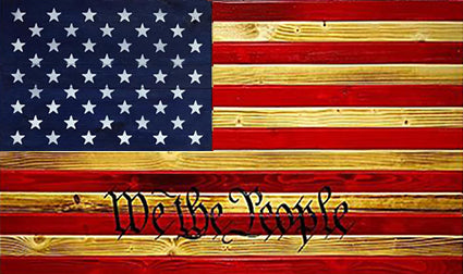 We the people Red Burnt Pine and Blue Concealment Flag