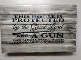 THIS HOUSE IS PROTECTED HIDDEN GUN STORAGE SIGN - ProtectYOURshelves